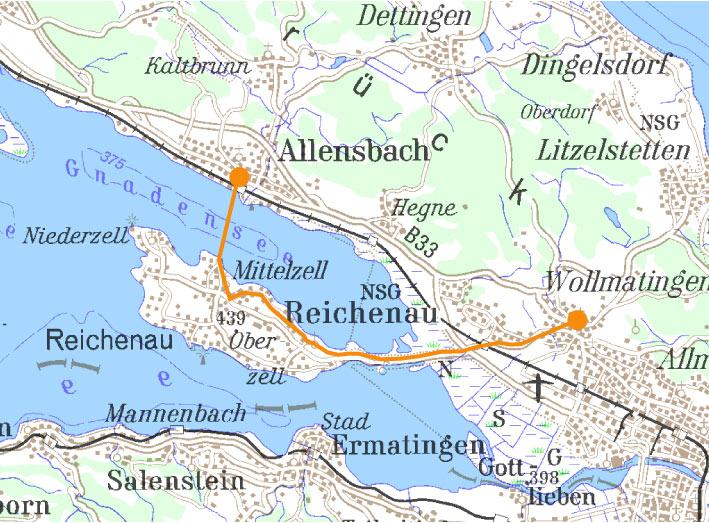 Insel Reichenau Karte.Wegvariante über Die Insel Reichenau Startpunkt